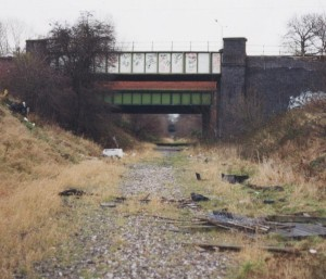 The disused railway line before conversion