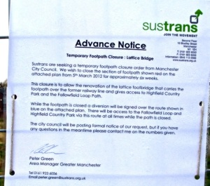 Notice of lattice bridge closure
