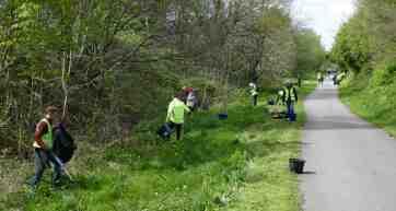 Volunteers litter-picking